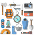 tourist and travel equipment icon set vector image