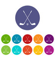 two crossed golf clubs and ball set icons vector image vector image