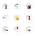 Winter holidays icons set flat style vector image vector image