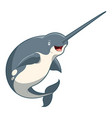 cartoon smiling narwhal vector image