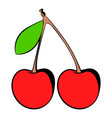 a couple red cherries icon icon cartoon vector image
