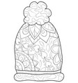 adult coloring bookpage a cute christmas cap vector image vector image