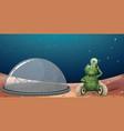 alien robot on mars scene vector image vector image