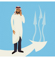arab business man in traditional clothes talk on vector image vector image
