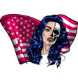 beautiful woman with american flag vector image vector image