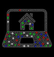 bright mesh wire frame home on laptop screen with vector image vector image