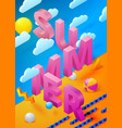 bright summer poster with 3d paper letters vector image