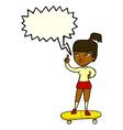 cartoon skater girl with speech bubble vector image