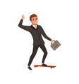 cheerful business man riding on skateboard and vector image vector image