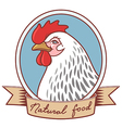 chicken emblem ribbon vector image vector image