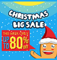christmas sale banner template with cute character vector image vector image