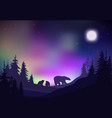 colorful night winter forest landscape template vector image