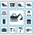 construction icons set collection of truck paint vector image