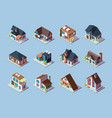 cottages isometric luxury houses small villages vector image vector image