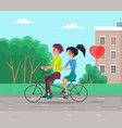 couple walking in city park and riding a bike vector image vector image