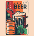 craft beer tankard retro poster vintage card vector image