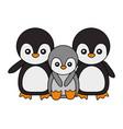 cute family penguins animals cartoon vector image vector image
