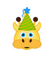 cute giraffe with a party hat avatar vector image
