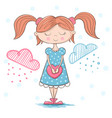 cute pretty girl with big heart vector image
