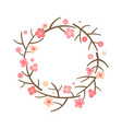 decorative spring wreath frame from blooming vector image vector image
