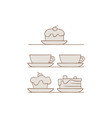 desserts and drinks set with vector image vector image