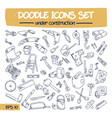 doodle icons set - under construction vector image vector image