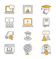 E-learning distance education flat line icons