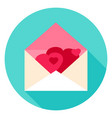 envelope with hearts circle icon vector image vector image