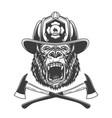 ferocious gorilla head in firefighter helmet vector image vector image