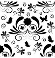 floral seamless pattern with butterfly vector image