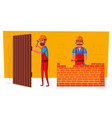 funny carpenter and builder is working vector image