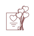 gift list with heart balloons isolated icon vector image vector image