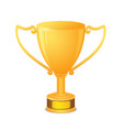 golden trophy cup with text space isolated on vector image