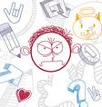 hand drawn cartoon angry boy Education theme vector image vector image