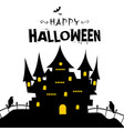happy halloween castle in a grave background vector image