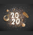 happy new 2020 year different golden elements on vector image