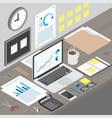 isometric workspace laptop on office desk vector image