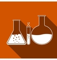 Laboratory glassware icon with long shadow vector image