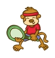 Monkey playing Badminton happy cartoon vector image
