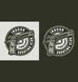 monochrome military round logo vector image vector image