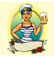 Pin Up Sailor Girl with cold beer vector image vector image
