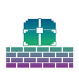 pixelated video game treasure chest brick wall vector image
