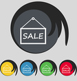 SALE tag icon sign Symbol on five colored buttons vector image