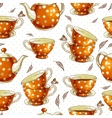 seamless background with cups tea and pots vector image vector image