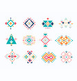 set ethno tribal aztec symbols colorful vector image vector image