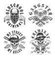 set gangster emblems vector image vector image