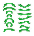 set of different ribbons green tape banner vector image