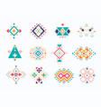 set of ethno tribal aztec symbols colorful vector image vector image