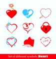 set symbols heart vector image vector image