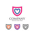 shield logo with love heart abstract logo vector image vector image